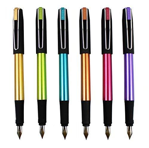 Ensemble de stylo plume Hillento YIREN, ensemble de stylo 6 couleurs, capuchon noir, plastique (doré, bleu, vert, violet, rouge, orange)