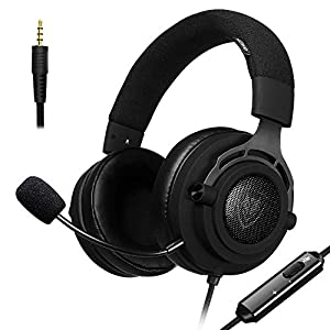 Stoff PS4 Gaming Headset mit Breathing Stirnband, 5.25ft Draht, 3,5 mm Mic Lautstärkeregler, Xbox One PC Stereo Kopfhörer, Inline-Rauschunterdrückung für PC, Laptop, Mac, Nintendo Switch