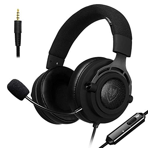 Gaming Headset Cuffie per PS4 Auricolari, Fabric Headband, Xbox one, PC con Microfono, Mac, PlayStation 4, Xbox One, Android e iPhone (Fabric)