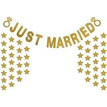 BESTOYARD Just Married Banner Glitter Wedding Party Banner Pentagram Garland Confetti Bunting Banners para la decoración