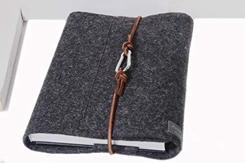 Kalender -/ Notizbuch Hülle A5 dunkel grau Filz Einband Kalenderhülle Leder retro Vintage Geschenk Schule Ausbildung Studium lässig anthrazit