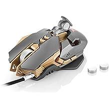 COMBATERWING USB Gaming Ratón para Profesional Jugador, 7 programables Botones Iluminación LED 4 colores, Ergonómico, DPI Ajustable a Base de Aluminio (Gris)