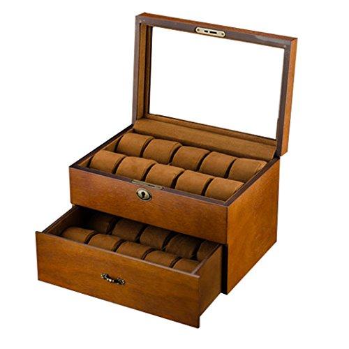 2 niveles Caja de reloj De madera para hombres / mujeres Grande 20 Cuadrícula Ver caja de almacenamiento con tapa de vidrio Bloquear para viajar o comprar escaparate colección de joyas / decoración