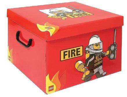 LEGO - Caja para Guardar (tamaño XL), diseño de Bombero en Color Rojo