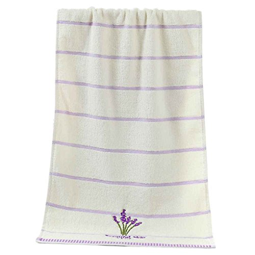 Bobury Pure Cotton Thicken Stripe Face Towels Lavender Pattern Absorbent Face Towels