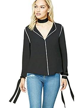 Yuncai Mujer Gasa Color Solido Cuello en V Blusas Tops Camisas