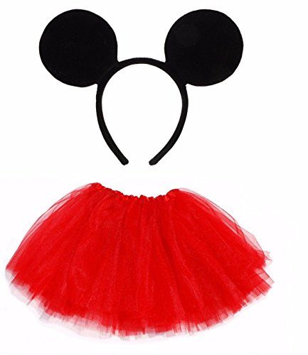Lizzy® Mädchen Teller Rock One size Gr. One size, Mickey Mouse Ears Headband + Kids Red Tutu (Minnie Rock)