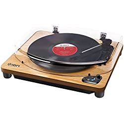 ION Audio Air LP Wood - Tocadiscos con streaming de audio por Bluetooth – reproduce y convierte discos de 33 1/3, 45 y 78 rpm