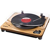ION Audio Air LP Wood - Tocadiscos con streaming de audio por Bluetooth, reproduce y convierte discos de 33 1/3, 45 y 78 RPM