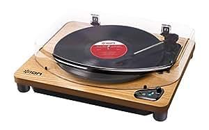 ION Audio Air LP Giradischi Bluetooth in Legno con Trazione a Cinghia e Testina con Puntina Preassemblata + Collegamento USB e Software per Mac e PC