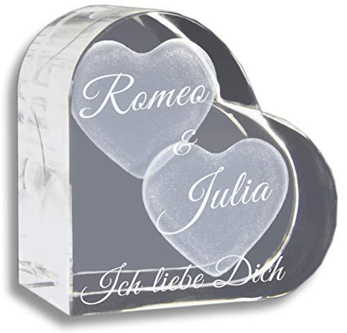 3Dglas Glasherz mit Zwei großen Herzen - kostenlos Werden eure Namen, der Jahrestag und Zusatztexte graviert - Das ideale Partner Geschenk zum Valentinstag, Jahrestag, aus Liebe