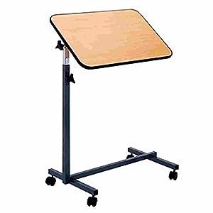 FabaCare Beistelltisch Nova, höhenverstellbarer Betttisch auf Rollen, Tisch für Bett mit Neigung, Braun