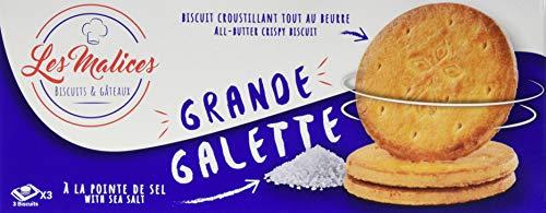 Les Malices - Grande Galette Gesalzene Butter - Familiengrösse 12 Packungen mit 9 Keksen (12 x 150 g) - Hergestellt in Frankreich