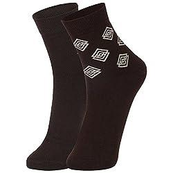 DUKK Men's Brown Ankle Length Cotton Lycra Socks (Pack of 2)