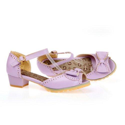 balamasa Femme Boucle Solide faible Talons Sandales Chaussures Violet