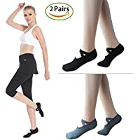 Sportout 2 Pairs Non-Slip Women Cotton Yoga Socks with Anti-Slide Straps, Strong Grips Pilates Yoga Socks, Perfect for Pilates Yoga Barre Dance and Ballet