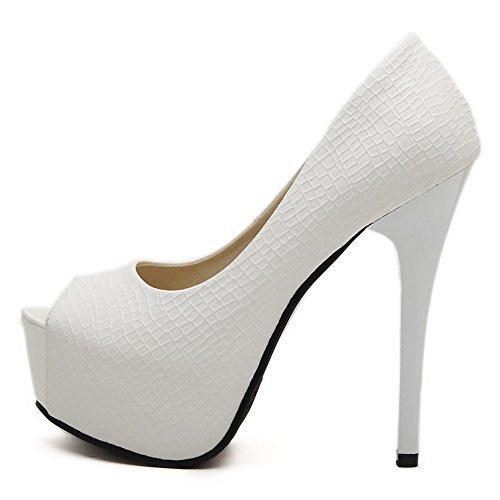 AllhqFashion Damen Pu Leder Fischkopf Schuhe Stiletto Ziehen Auf Rein Sandalen Mit Hohem Absatz Weiß