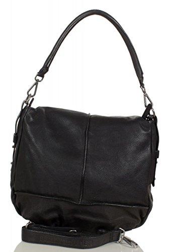 FREDsBRUDER Vanilla IC sac d'épaule en cuir souple (36 x 33 x 9 cm) Black (Noir)
