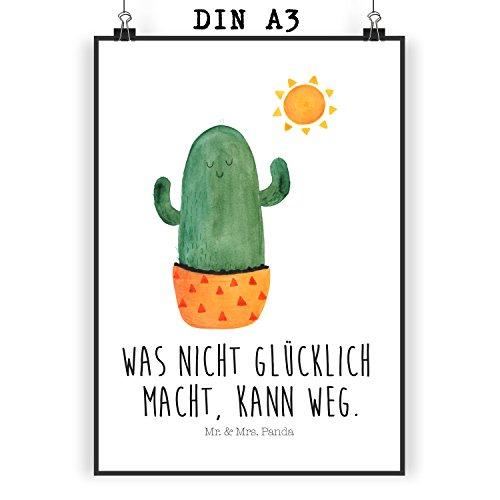 Mr. & Mrs. Panda Bild, Geschenk, Poster DIN A3 Kaktus Sonnenanbeter mit Spruch - Farbe Weiß