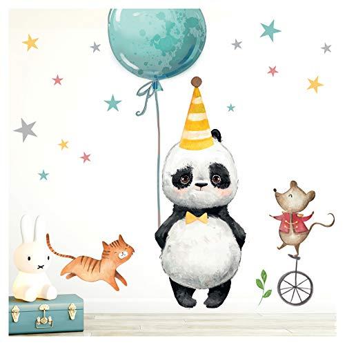 Little Deco Aufkleber Panda Katze Maus & Sterne I M - 102 x 74 cm (BxH) I Luftballon Partyhut Wandbilder Wandtattoo Kinderzimmer Tiere Deko Babyzimmer DL198