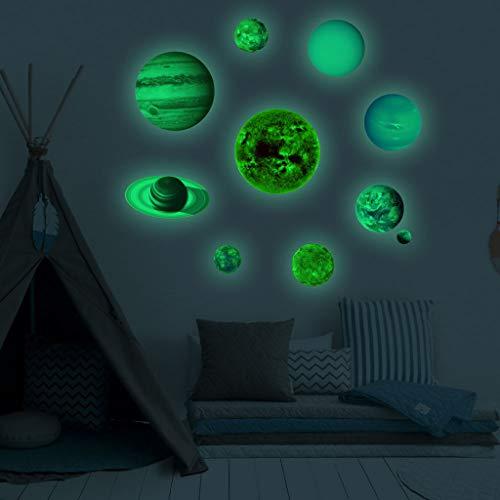QUICKLYLY-Pegatinas Pared PVC Planetas Luminosos Que