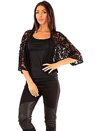 6009a3caf4 Ladies Lace Bolero Shrug Smart Short Jacket Cardigan Top Evening Size 10 12  14 16 18