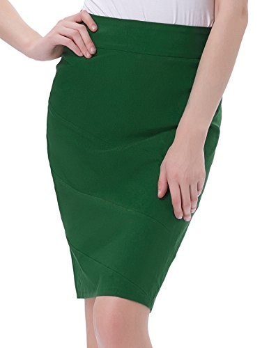 Damen Elegante Volltonfarbe Midi Business Party Bleistift Röcke Dunkelgrün (KK269-5) Small