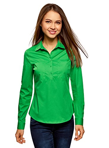oodji Ultra Damen Hemd Basic mit Brusttaschen, Grün, DE 38/EU 40/M (Grüne Langarm-bluse)