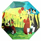 Folding UV Protection Oil Painting Parasol Rain Bumbershoot Umbrella