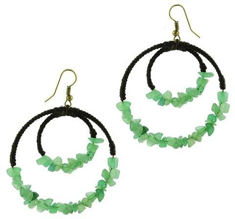 Coton boucles d'oreilles Chic-Net boucle d oreille bijoux coton de dames de cercle de pierres boucles d'oreille de jade