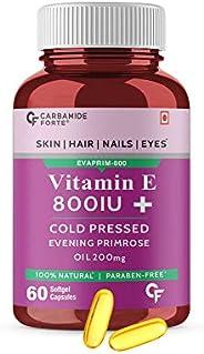 Carbamide Forte Vitamin E 800 IU Oil + Evening Primrose Oil Capsules for Face & Hair- 60 Caps