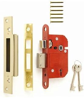 Silver//Gold//Red 6.3cm Satin Effect Era BS 5 Lever Mortice Deadlock 63mm