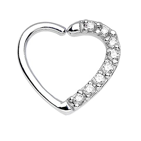 BODYA bling clear cubic zirconia heart Ear Closure Daith Cartilage Tragus Piercing Helix Earrings Hoop Rings Body