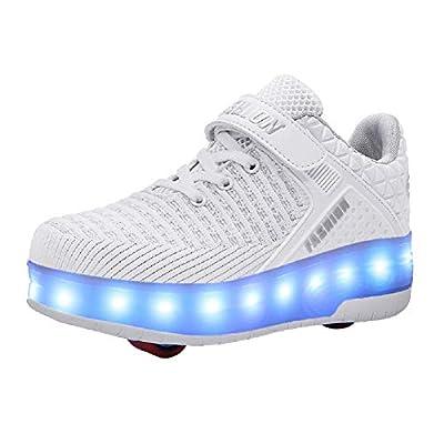 Jungen Mädchen LED Rollschuh Schuhe mit USB Aufladen Blinken Leuchtend Skateboardschuhe Outdoor-Sportarten Gymnastik Mode Rollerblades Sneaker