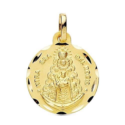 Medalla Oro 18K Virgen Del Rocío 16mm. Filo Tallado [Ab3348Gr] - Personalizable - Grabación Incluida En El Precio