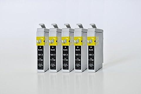 T1811 Printing Saver 5 NOIR Cartouches d'encre compatibles pour EPSON XP-102, XP-202, XP-205, XP-212, XP-215, XP-225, XP-30, XP-33, XP-302, XP-305, XP-312, XP-315, XP-322, XP-325, XP-402, XP-405, XP-405WH, XP-412, XP-415, XP-422, XP-425