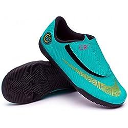 Botas Futbol Nike CR7 Jr. Vapor 12 Club Suela Lisa Verde/Dorado Niño