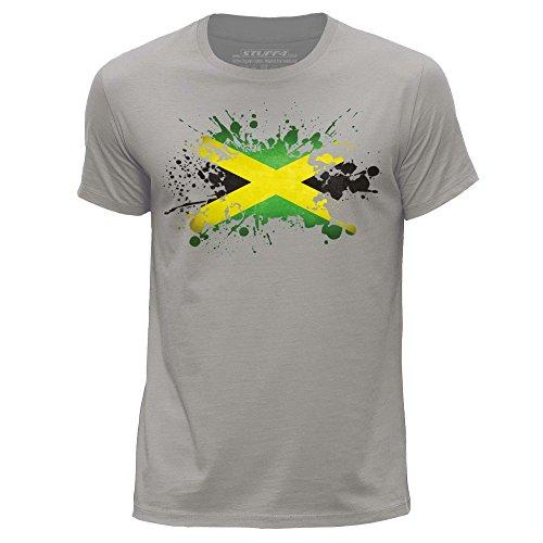 Shirt Jamaican Flag (STUFF4 Herren/XX groß (XXL)/Hellgrau/Rundhals T-Shirt/Jamaika/Jamaikanische Flagge Splat)