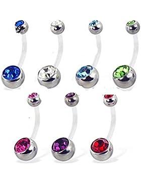 SL-Silver 10er Set Bauchnabelpiercing Bioflex und Kristallsteine 10 Farben