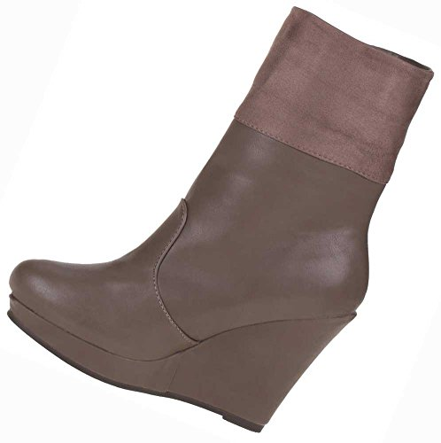 Stiefeletten Damen Schuhe Leder Optik KEILABSATZ HIGH HEELS BOOTS 36-41 Braun