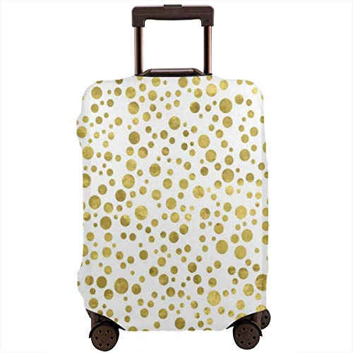 Travel Luggage Cover,Illustration of Golden Polka Dots Vintage Style Art Deco Bridal Decor Suitcase Protector -