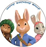 """Peter Rabbit 7.5"""" Round personalised birthday cake topper printed on icing (ICING)"""