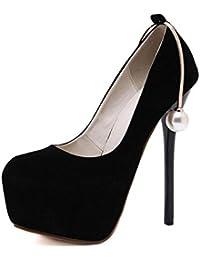 SHINIK Mujeres Botas De Cerrado-Dedo Del Pie Bombas De Las Damas Ultra-American Personality Pearl Zapatos Decorativos De Tacón Alto Cono Negro Talón Zapatos De La Corte , black , 37
