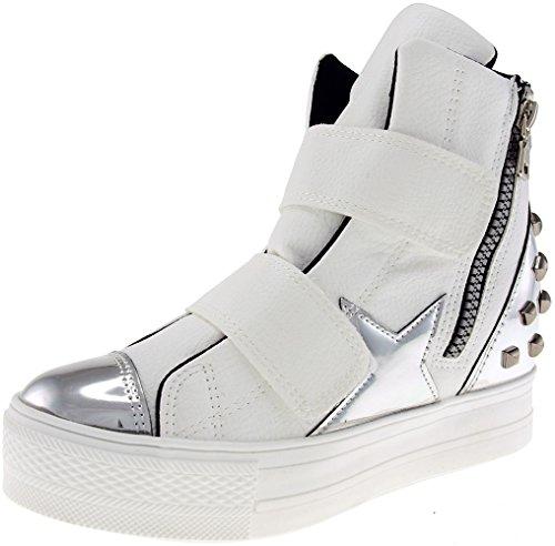 Altas C2 fitas Velcro C2 De Prata Superiores A Sapatilhas Maxstar branco Alta 6dzqAxz