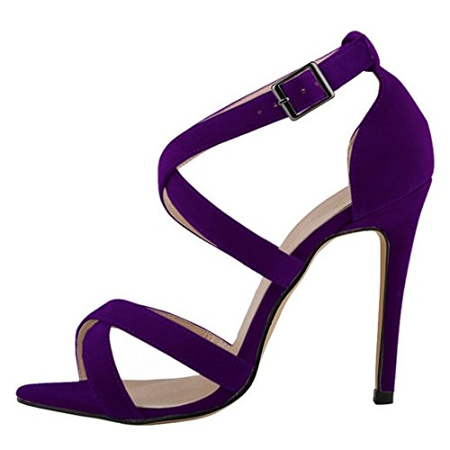 Azbro Elegant Summer Ankle Strappy Stiletto High Heels For Woman Purple