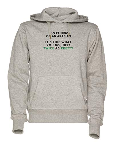 Jergley Arabian Reining Twice As Pretty - Arabian Horse Cowgirl Unisex Grau Sweatshirt Kapuzenpullover Herren Damen Größe XXL | Unisex Sweatshirt Hoodie for Men and Women Size XXL Arabian Sweatshirt