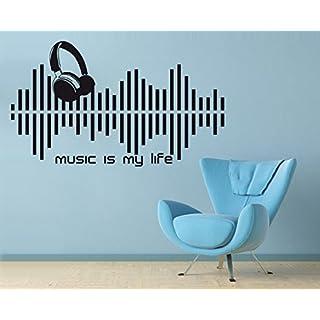arslinea Wandtattoo - Music is my life, 85x50 cm, d.blau