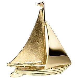 Anhänger Segelschiff Segelboot 333 Gold Gelbgold matt mattiert Goldanhänger