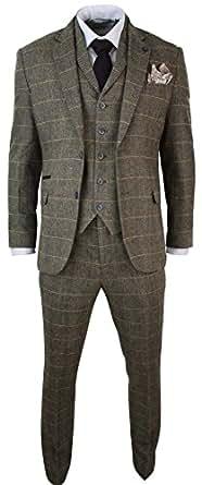 Costume 3 pièces homme tweed classique à chevrons et carreaux marron clair tan coupe cintrée slim style vintage