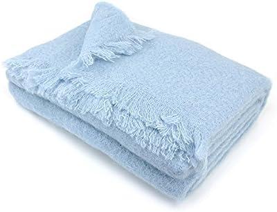 Manta 180x 220cm lana mohair 320G/m² Thesee azul glaciar
